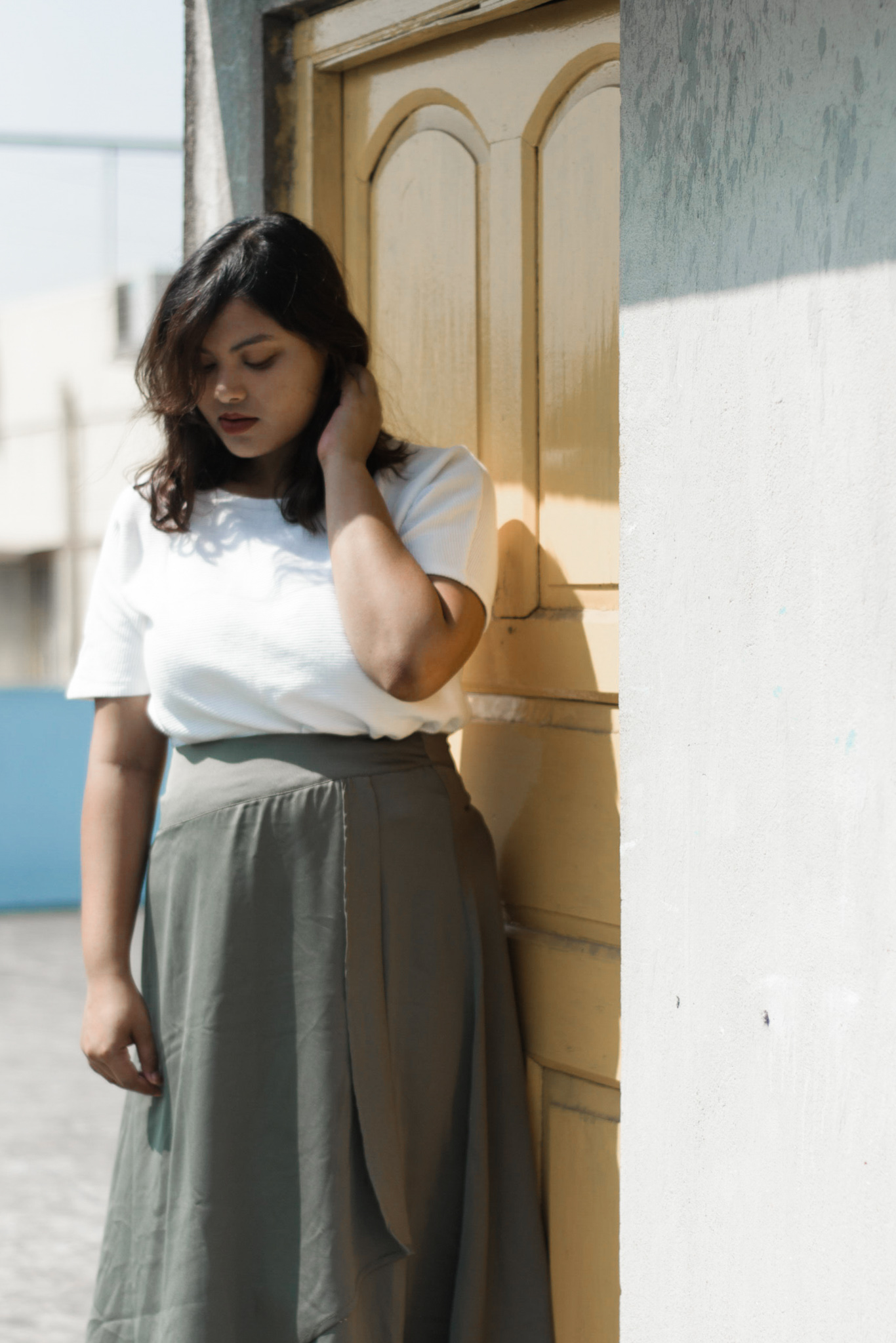 Olive green skirt and white top plus size fashion